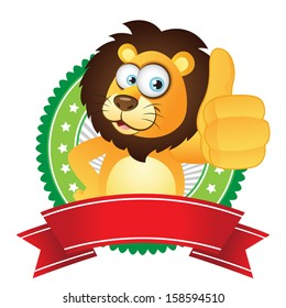 Lion thumbs up with badge label