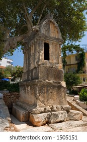 Lion Tomb, Kas, Turkey, ancient Lykain tomb dating from 4th century BC.