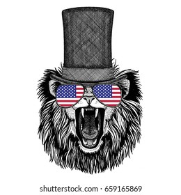 Lion wearing cylinder top hat and glasses with usa flag United states flag