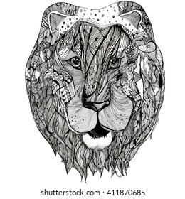 Lion.Black white hand drawn doodle illustration.Sketch for adult coloring book, page, tattoo, poster, print, t-shirt