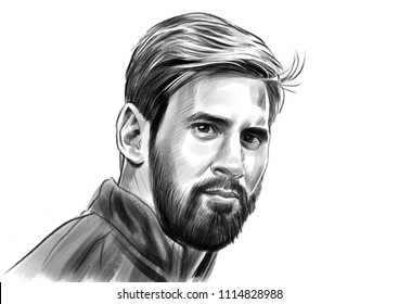 Lionel Messi, an Argentine professional footballer. Vector Portrait Drawing Illustration. June,18, 2018
