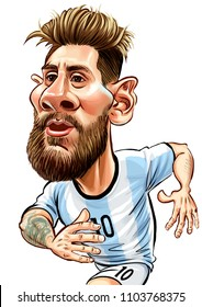 Lionel Messi, an Argentine professional footballer.Caricature Illustration.