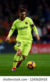 Lionel Messi of Barcelona controls the ball during the week 13 of La Liga match between Atletico Madrid and FC Barcelona at Wanda Metropolitano Stadium in Valencia, Spain on November 24, 2018.