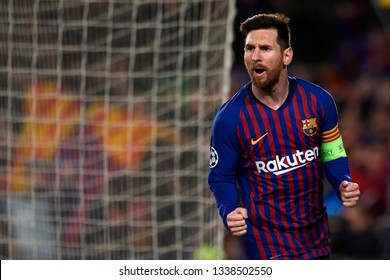 Lionel Messi of Barcelona  during the UEFA Champions League Round of 16 Second Leg match between FC Barcelona and Olympique Lyonnais at Nou Camp on March 13, 2019 in Barcelona, Spain.
