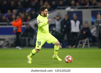 Lionel Messi of Barcelona during UEFA Champions League round of 16 between Olympique Lyonnais and FC Barcelona 2/19/2019 Groupama stadium Decines-Charpieu Lyon France