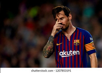 Lionel Messi celebrates after scoring his sides first goal  during the week 9 of La Liga match between FC Barcelona and Sevilla FC at Camp Nou Stadium in Barcelona, Spain on October 20, 2018.