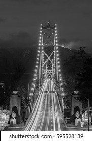 Lions Gate Bridge black and white, Vancouver, BC, Canada