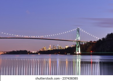 Lions Gate Bridge and Downtown Vancouver at winter sunset