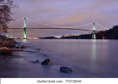Lions Gate Bridge and downtown Vancouver after sunset