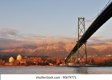 Lions Gate Bridge and Grouse Mountain, viewed from Stanley Park