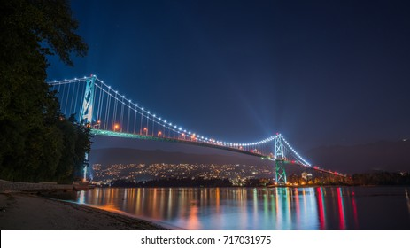 lions gate bridge at night,Stanley park Vancouver BC Canada
