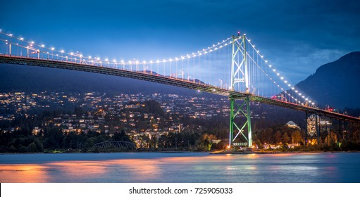 Lions Gate Bridge with North Vancouver in the Background seeing from Stanley Park at Vancouver British Columbia