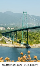 Lions Gate Bridge over Vancouver Harbour in Vancouver, British Columbia, Canada on 1st August 2018