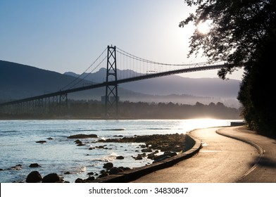The Lions Gate Bridge from the Stanley Park.