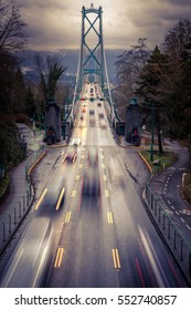 Lions gate Bridge at Stanley Park in Vancouver, British Colombia, Canada. Cars driving on the bridge with long exposure