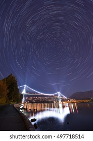 Lions Gate Bridge and Star Trails, night at Stanley Park, Vancouver