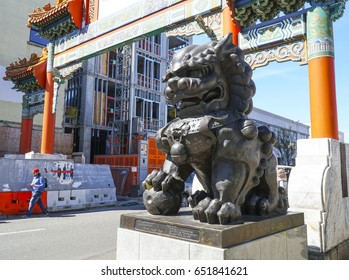 The Lions at the gate to Chinatown in Portland - PORTLAND / OREGON - APRIL 16, 2017