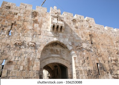 Lions' gate in the city wall of Jerusalem, Israel.