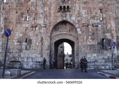 Lion's Gate. The Lions' Gate is located in the Old City Walls of Jerusalem, and is one of seven open Gates in Jerusalem's Old City Walls. It's facing the Kidron valley and Mount of Olives. (May, 2010)