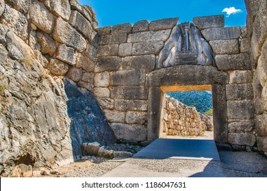 Lion's gate, the main entrance of the citadel of Mycenae. Archaeological site of Mycenae in Peloponnese Greece