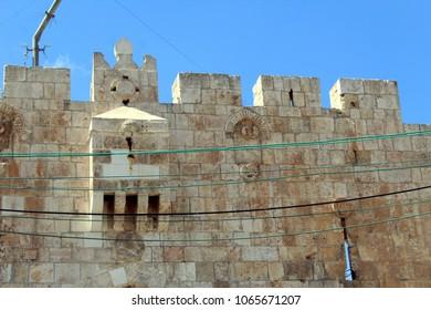 Lion's gate in the Old City of Jerusalem