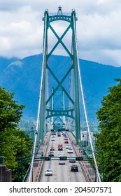 Lions Gate Suspension Bridge (or First Narrows Bridge) in Vancouver with Traffic.