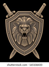 Lion's Head Blazon. Artistic sculpture of a lion head on the shield with the crossed swords, isolated on black background. 3D rendered image