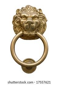 Lion's head door knocker isolated on black