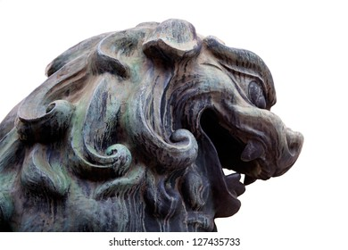Lion's head isolated on white, Yasaka Shrine, Kyoto