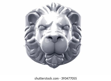 lion's head on a white background