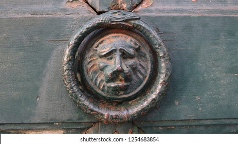 Lion's head and ouroboros snake door knocker, Southern France