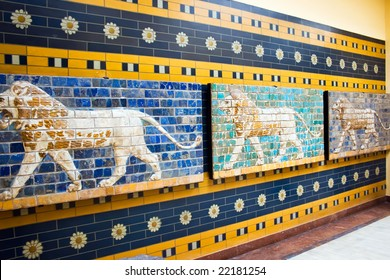 Lions on a Babylonian mosaic in the museum of Istanbul, Turkey
