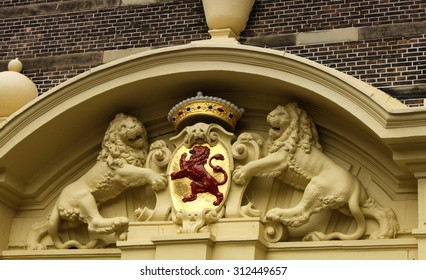 lions statue - one the National emblem in The Hague, Netherlands