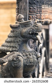 Lions, symbols of power and protection, in Bhaktapur Temple ,the Kathmandu Valley, Nepal