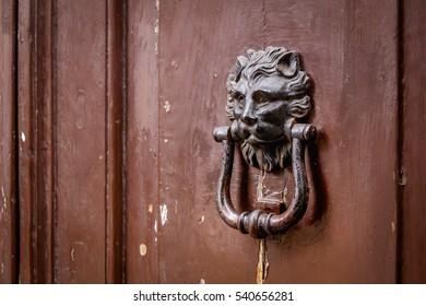 Lion-shaped handle on an old burnt brown door