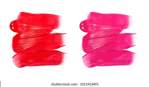 Lip gloss sample isolated on white. Smudged red and purple lipgloss. Makeup product sample.