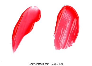 Lip gloss samples isolated on white