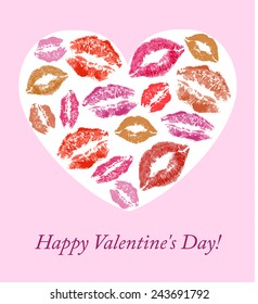 lip prints on the background with hearts background for Valentine's Day