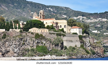 Lipari village nad island  in Aeolian archipelago,Italy