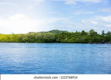 Lipe Island,Satun province,Thailand,Beautiful island with blue sea,sunny day background,blur