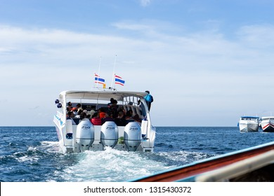 Lipe Island/Thailand - Feb 17 2019 : Tourists on the tourist boat are going out from the land to the island at Lipe island, Thailand
