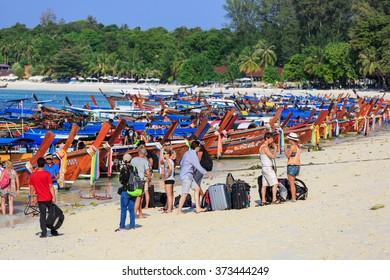 LIPE,SATUN - FEB,8 : Many passengers are waiting for going back to main land at Lipe island,Andaman sea. THAILAND FEB,8 2016