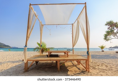 LIPE,SATUN - FEB,8: The resorts with bamboo chair suit are located on beside the sea beach at Lipe island,Andaman sea.THAILAND FEB,8 2016