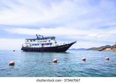 LIPE,THAILAND - FEBRUARY 1,2016: Large yacht ship for divers  around Lipe island,Andaman sea