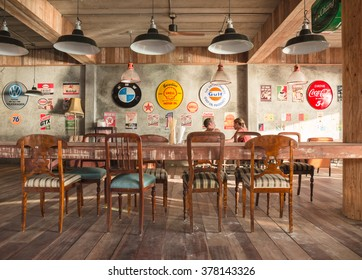 LIPE,THAILAND - FEBRUARY 1,2016: The  wooden interiors coffee and drink restaurant in  Lipe island,Andaman sea.