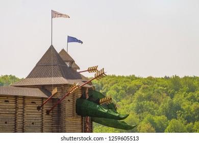 Lipetsk region, Russia - May 8, 2018: Wooden fortress with fabled towers. Family Ethnic Amusement Park Kudykina Gora (Kudykina mountain).