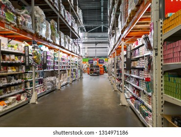 Lipetsk, Russia - February 16, 2019: Products on a shelf in the market .
