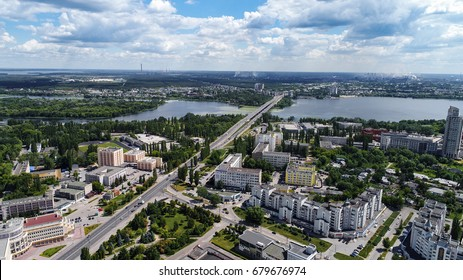 Lipetsk, Russia - July 11. 2017. Top view of city and the Voronezh river