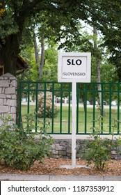 Lipica, Slovenia July 21st 2018.Sign of Slovenien language for a tour guide in Lipizzan stud farm. Tour Guide concept