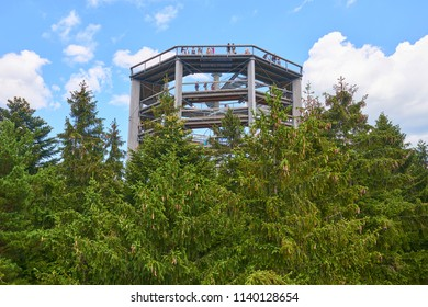 Lipno Nad Vltavou/ Czech Republic - July 08, 2018: Tourists at The Treetop Tower Walkway discovering the beauty of the Sumava National Park (Bohemian Forest)